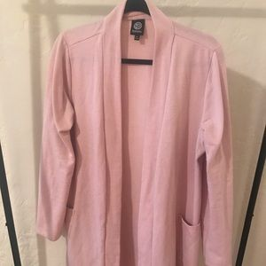 Long pink fleece open front sweater